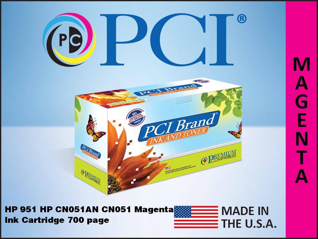 8600 Series MG Re-Manufactured Inkjet Cartridges with New Chip ; Magenta Ink: RCN047 CN051AN 951XL Magenta; Models: OfficeJet Pro 8100 Replacement for HP CN047AN